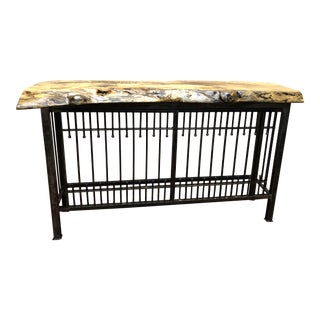Governor's Antiques Originals Wrought Iron Console With Live Edge Top