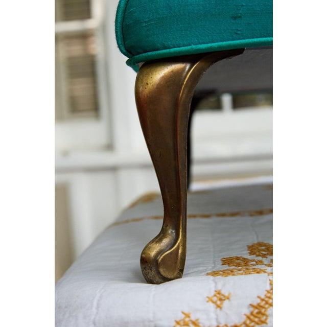 Vintage Hollywood Regency Brass Footstool For Sale In Atlanta - Image 6 of 7
