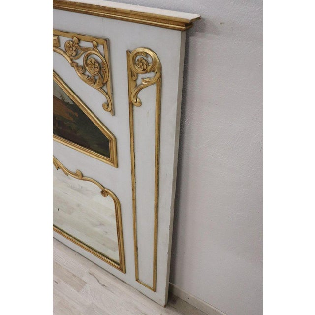 Gold 20th Century, Italian Louis XVI Style Wood Lacquered and Gilded Fireplace Mirror For Sale - Image 8 of 13