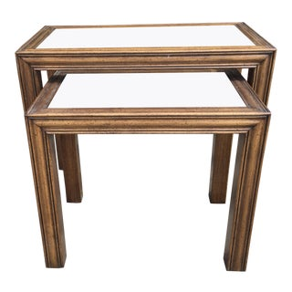 Wood and Glass Nesting Tables A Pair Circa 1970 For Sale