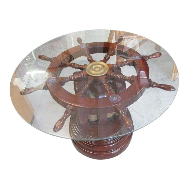 Ship Wheel & Pully Maritime Table - Image 1 of 6