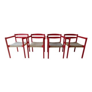 1980s Danish Modern Niels Jorgen Haugesen Red Dining Chairs - Set of 4 For Sale