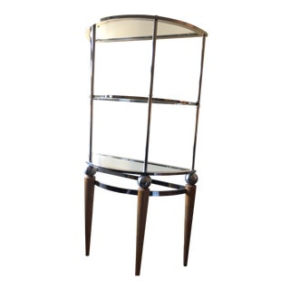 Mid Century Modern Art Deco Chrome, Wood, and Glass Etagere For Sale