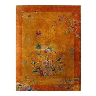 Early 20th Century Antique Chinese Art Deco Area Rug - 9′ × 12′ For Sale