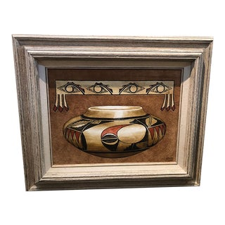 Mid 20th Century Native American Still Life Acrylic Painting on Suede by an Hopi Artist Erv Johnson, Framed For Sale