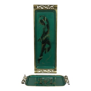 Vintage Green Enamel & Brass Trays - A Pair For Sale
