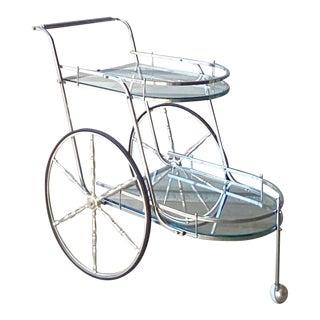 Hollywood Regency Chrome Wagon Wheel Bar Cart For Sale