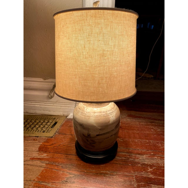 Glazed Chinese Sage Green Ginger Jar Table Lamp With Shade For Sale - Image 9 of 13
