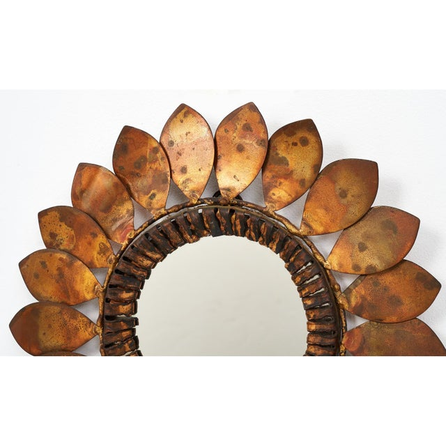 1960s C. Jere Mixed Metal 'Sunflower' Vanity Mirror, 1968 For Sale - Image 5 of 8