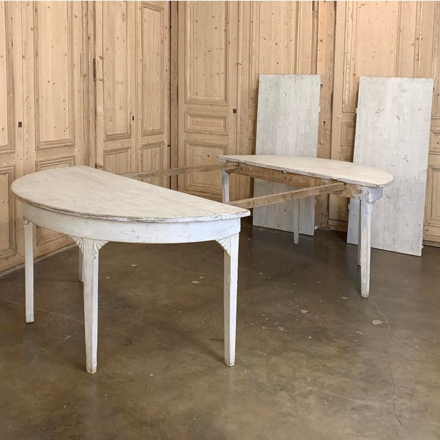 Light Gray Banquet Table, Painted, Early 19th Century Swedish Gustavian Period For Sale - Image 8 of 13