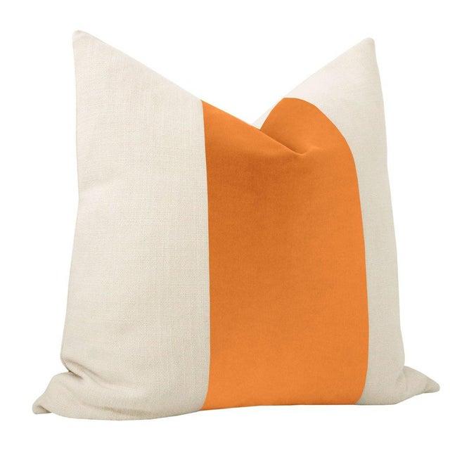 """Contemporary 22"""" Hermes Orange Italian Velvet Panel & Linen Pillows - a Pair For Sale - Image 3 of 6"""