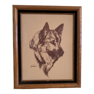Vintage Mid-Century German Sheperd Dog Etching Print For Sale