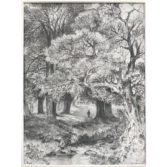 19th Century landscape drawing with figure walking through a forrest. Signed lower right E. L. Stuart. Presented in cream...