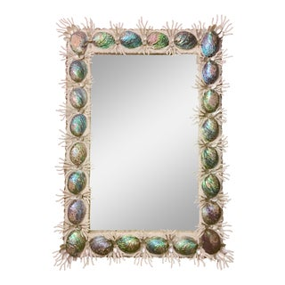 Abalone Shell & Spider Coral Branch Framed Mirror