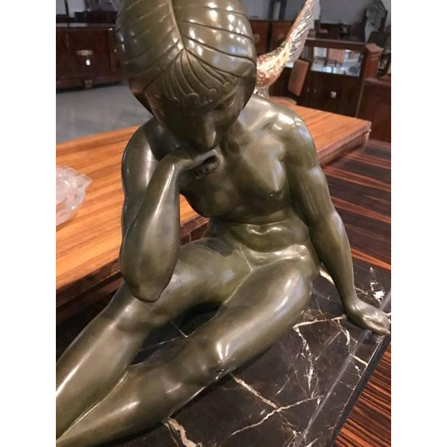 Signed French Art Deco Bronze Sculpture of Nude Seated Female For Sale In New York - Image 6 of 10