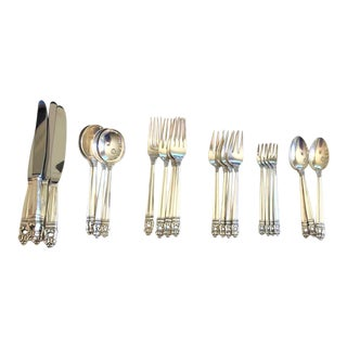 Royal Danish Sterling Four 5-Piece Place Settings + 10 Pieces For Sale