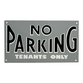 Vintage Metal No Parking Tenants Only Sign For Sale