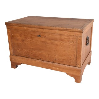 Antique Pine Trunk Chest or Coffee Table W/ Handles For Sale