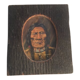 1970s Vintage Jack Datisman Native America Warrior Chief Acrylic on Canvas Miniature Painting For Sale