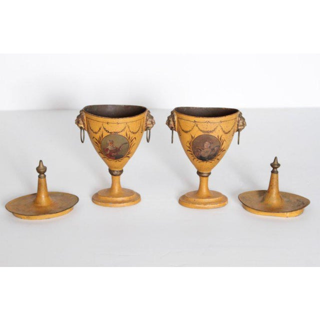 A Pair of English Regency Tole Painted Chestnut Urns For Sale - Image 11 of 13