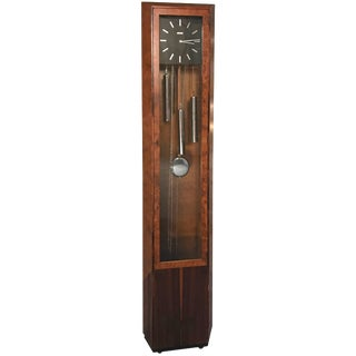George Nelson Howard Miller Burl and Rosewood Grandfather Clock For Sale