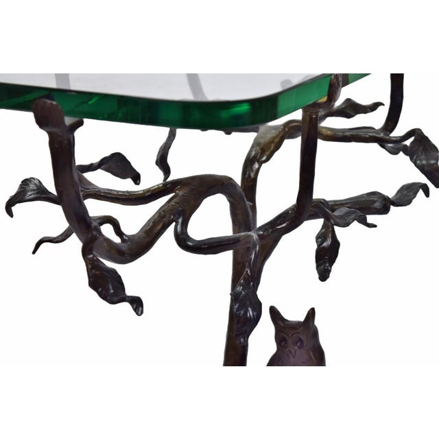 Glass Vintage Twig and Owl Bronze Patinated Iron Table For Sale - Image 7 of 9