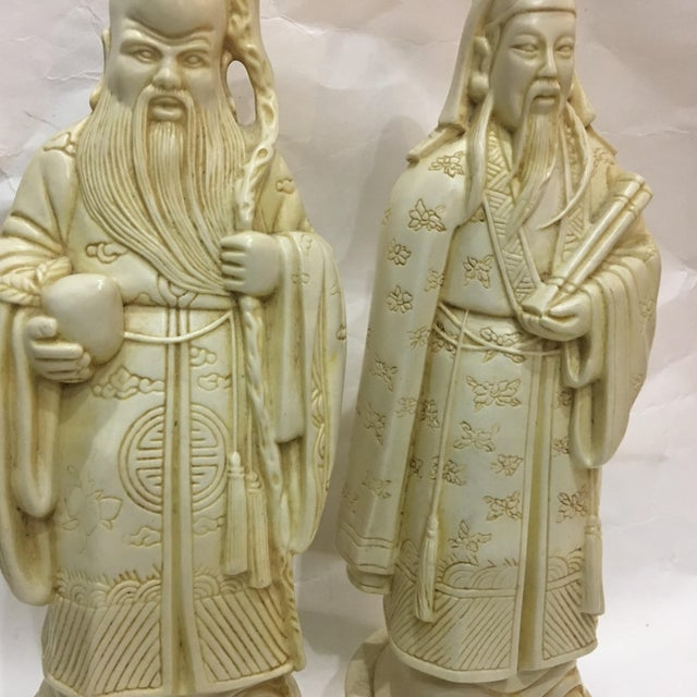 1950s Vintage Chinese Old Scholars Figures - a Pair For Sale - Image 5 of 13
