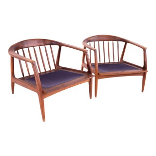 Mid Century Danish Style Milo Baughman for Thayer Coggin Walnut Barrel Lounge Chairs - A Pair For Sale