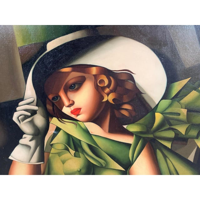 Canvas Young Lady With Gloves, After Tamara De Lempicka For Sale - Image 7 of 10