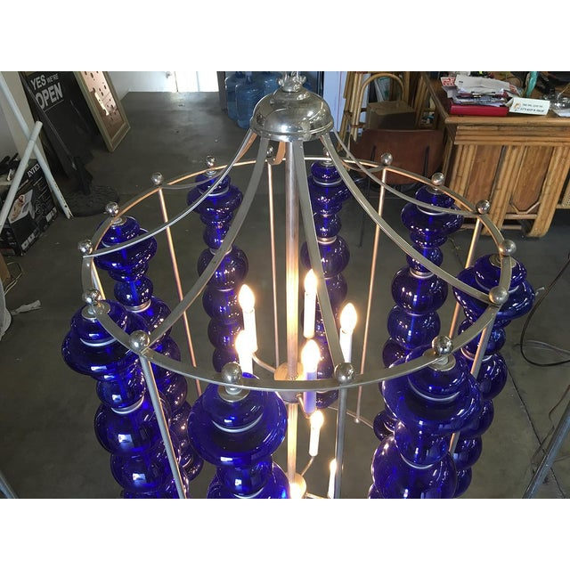 Modern Stacked Cobalt Glass Chandelier W/ Nickel Finish For Sale In Los Angeles - Image 6 of 7