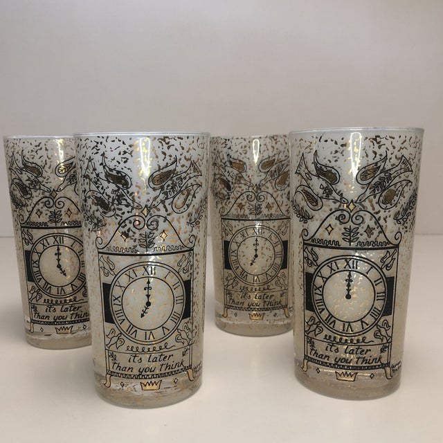 """Art Deco Georges Briard """"It's Later Than You Think"""" 22k Glasses - Set of Four For Sale - Image 3 of 10"""