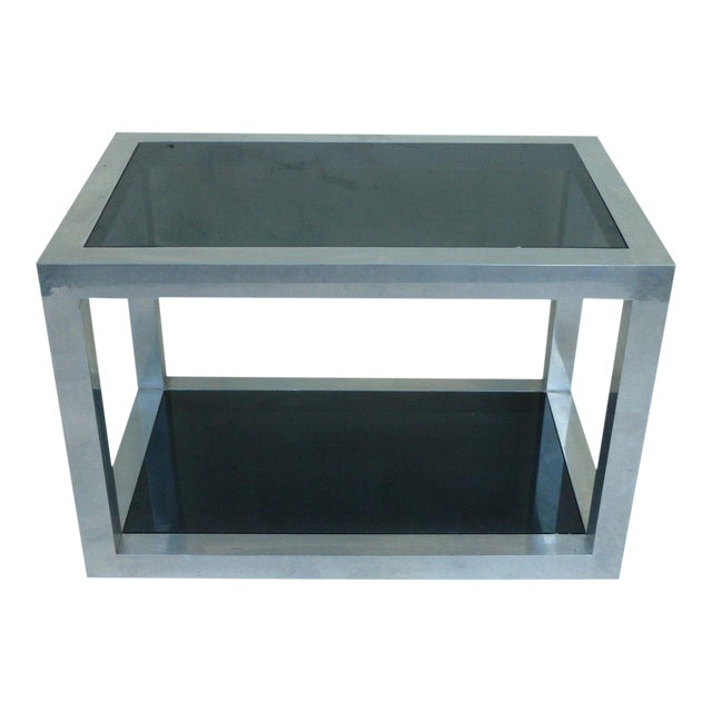 1970's Vintage Pace Style Aluminum Rectangular Table For Sale