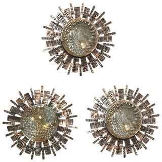 Mid-Century Modern Brutalist Sunburst Sconces / Flush Mounts (3 Available) For Sale