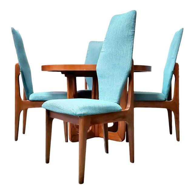 Kroehler Mid Century Teal Upholstered Dining Set - 5 Pieces For Sale