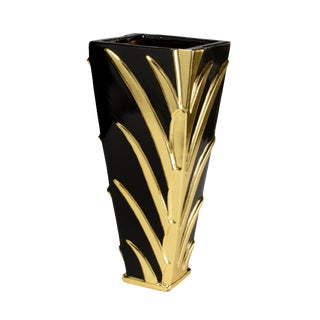 Black & Gold Leaf Vase For Sale