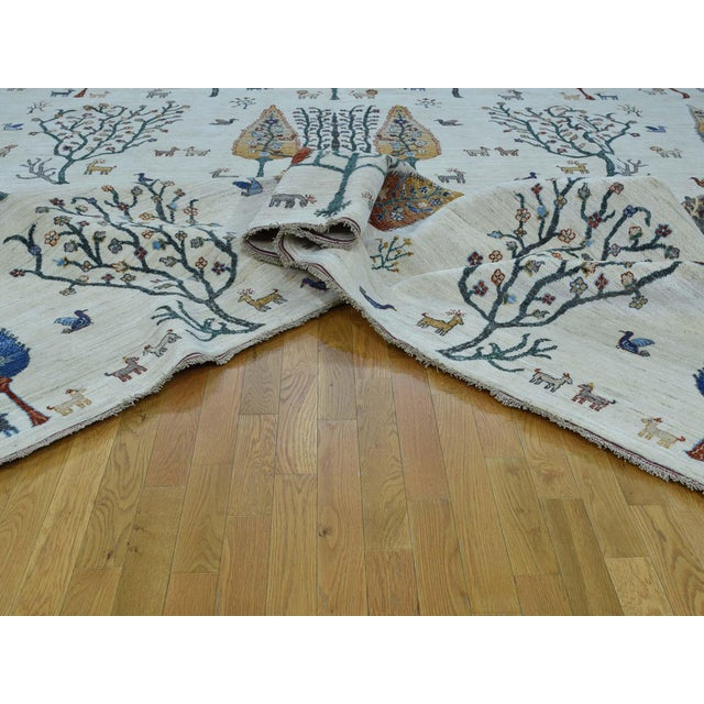Hand-Knotted Wool Tree Design Peshawar Rug- 12′3″ × 15′6″ For Sale In New York - Image 6 of 13