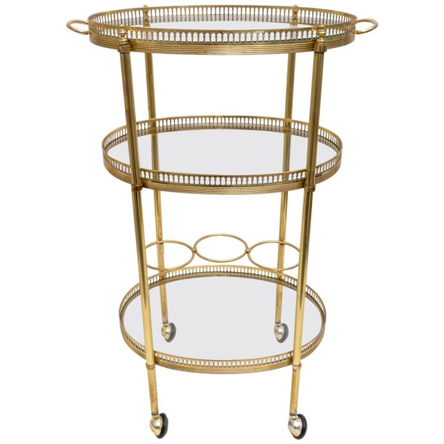 Hollywood Regency Oval Brass Bar Cart, 1970s Florence Italy For Sale - Image 13 of 13
