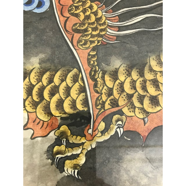Mid 20th Century Vintage 'Flying Dragon in Storm Clouds' Water Colour Painting For Sale - Image 5 of 8