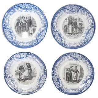 French Blue & White Transferware, Set of 4 For Sale