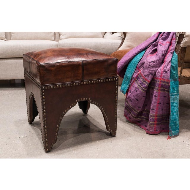 Sarreid Ltd. Sarried Ltd Dark Brown Giuseppe Footstool For Sale - Image 4 of 5