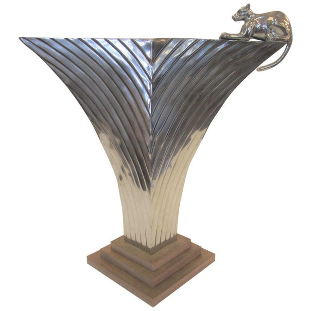 Large Art Deco Revival Fluted Nickeled Brass Vase With Panther For Sale - Image 13 of 13