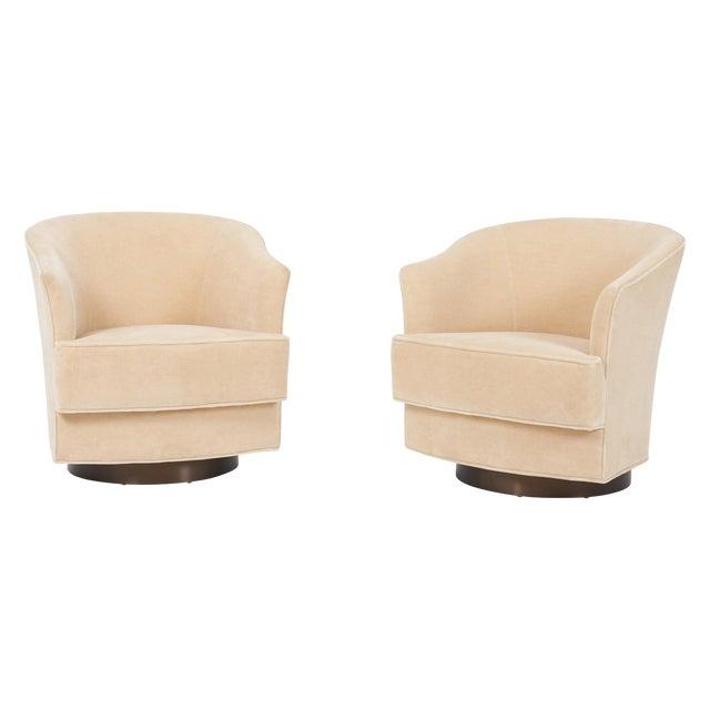 John Stuart Swivel Chairs on Bronze Bases, 1960s For Sale