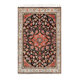 Black Color Fine Hand Knotted Pure Silk Tabriz 2' X 3' For Sale
