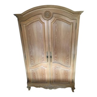 1980s French Country Oak Armoire-Style Media Cabinet For Sale