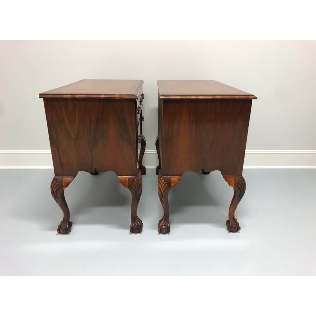 English A Fine English Inlaid Burl Walnut Chippendale Lowboy Chests - a Pair For Sale - Image 3 of 13