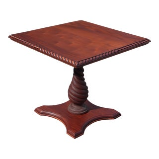 Antique Solid Mahogany Gadrooned Edge Twisted Pedestal Table For Sale
