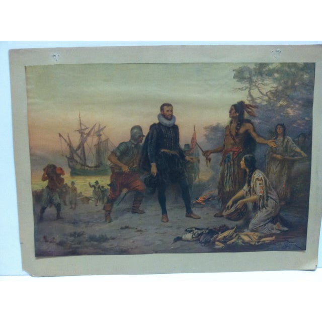 """This is a mounted vintage color print that is titled """"The Offering"""". The print looks in good condition and is ready for..."""
