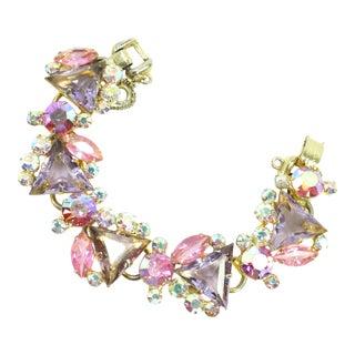 1960s DeLizza & Elster Juliana Lilac & Pink Crystal Link Bracelet For Sale