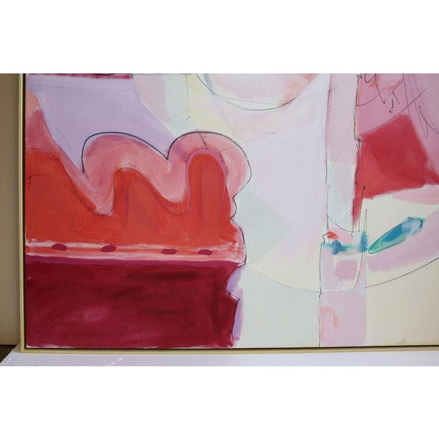 Wesley Johnson Huge Wesley Johnson Abstract Oil Painting in Variation of Pink For Sale - Image 4 of 9