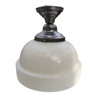 Vintage Schoolhouse Globe With Brushed Nickel Flushmount Fixture For Sale